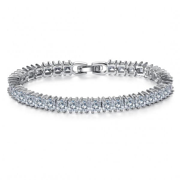 7ct Emerald Cut Lab-Created Sapphire Rhodium Plated Tennis Bracelet