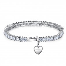7ct Emerald Cut Lab-Created Sapphire Rhodium Plated Tennis Bracelet With Charms