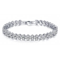 7ct Lab-Created Sapphire Rhodium Plated Multi Link Bracelet