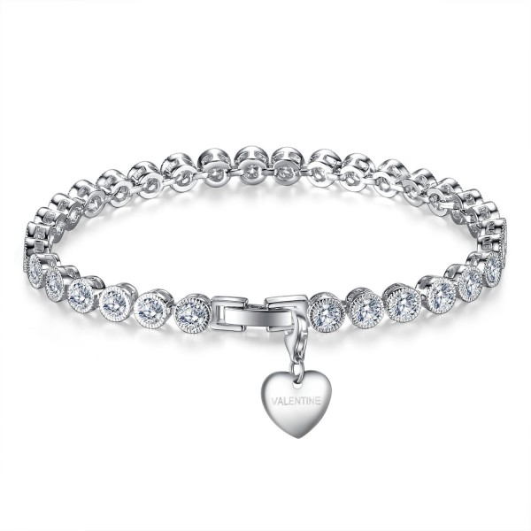 5CT LAB-CREATED SAPPHIRE RHODIUM PLATED BRACELET WITH CHARM