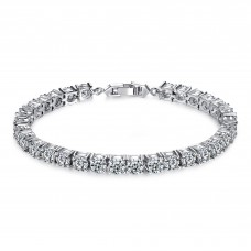 7ct Brilliant Cut Lab-Created Sapphire Rhodium Plated Tennis Bracelet