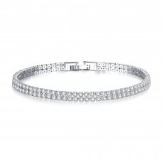 3ct Rhodium Plated Twin Row Lab-Created Sapphire Bracelet