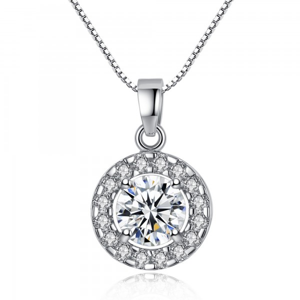 Clear Rhodium Plated Ring Circle Solitaire Pendant Made with Cubic Zirconia Crystals