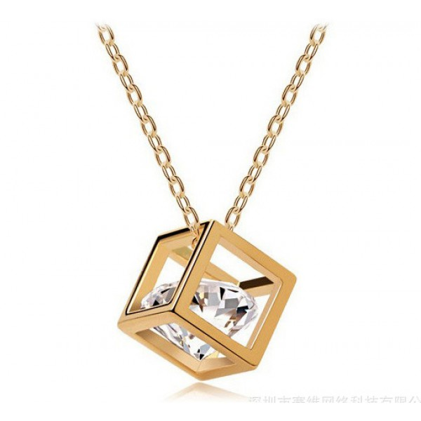 Gold Plated Crystal Cube Pendant