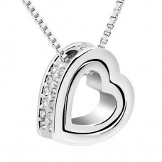 Double Heart Pendant Necklace with crystals from Swarovski®