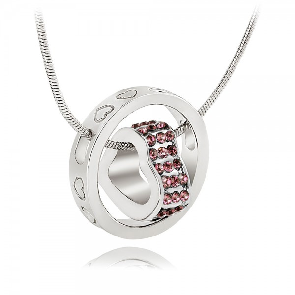 Crystal Heart  & Rhodium Plated Baby Pink Ring Pendant