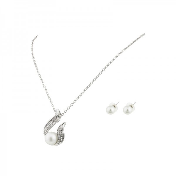 White Pearl Pendant & Earring Set with crystals from Swarovski®