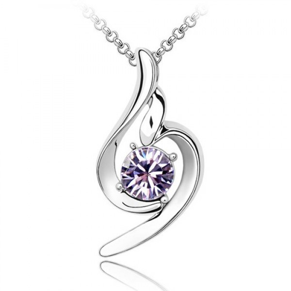 Lilac Swirl Rhodium Plated Ring Pendant Made with Czech Crystals