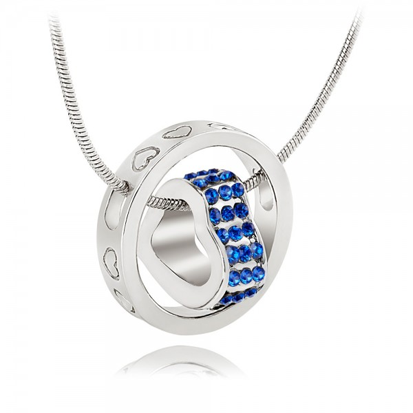 Crystal Heart  & Rhodium Plated Royal Blue Ring Pendant