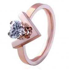 Heart Crystal V-Ring Made with Crystals from Swarovski®