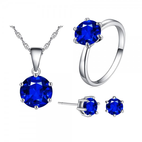 Solitaire Three Piece Set with Crystals from Swarovski® - 4 Colours