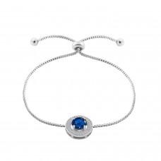 Rhodium Plated 2 Carat Brilliant Cut Blue Lab-Created Sapphire Bracelet