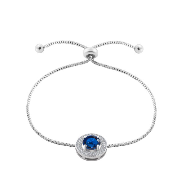 Rhodium Plated 2 Carat Brilliant Cut Blue Lab-Created Sapphire Bracelet
