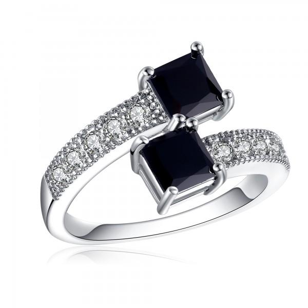 1.5 CARAT Brilliant Cut Black Lab-Created Sapphires Rhodium Plated Ring