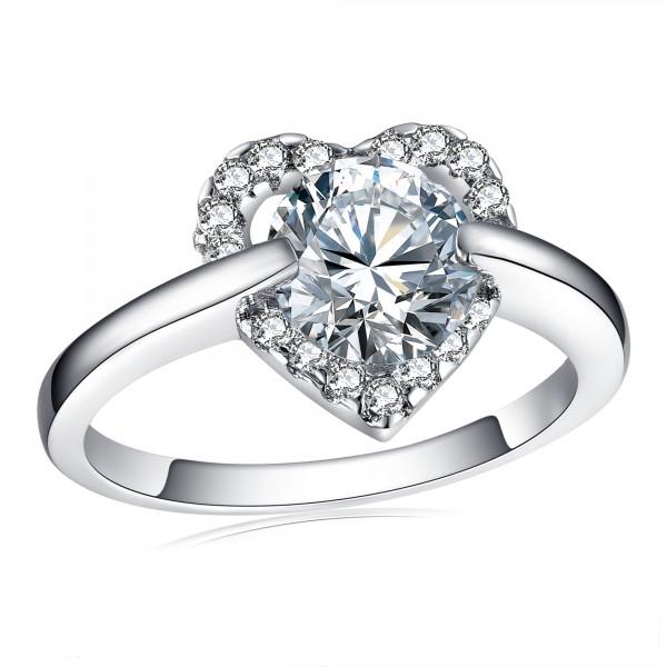 2.0 CARAT Brilliant Cut Clear Lab-Created Sapphire Rhodium Plated Ring