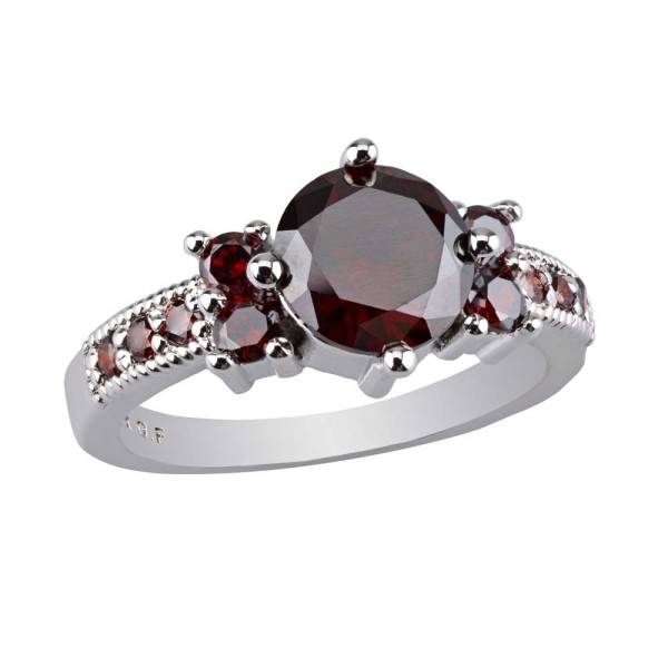 2.33 CARAT Red Ruby Brilliant Cut Rhodium Plated Rings
