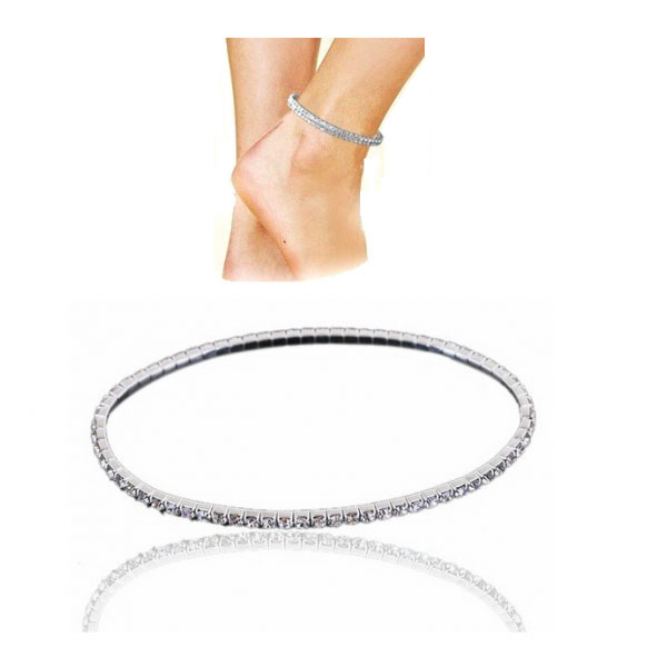 Sterling Silver Plated Single Row Ankle Tennis Bracelet with crystals from Swarovski®