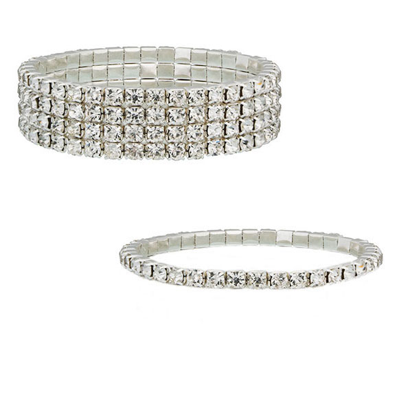 Four & Single Row Tennis Bracelet plated with Sterling Silver & Czech Crystals