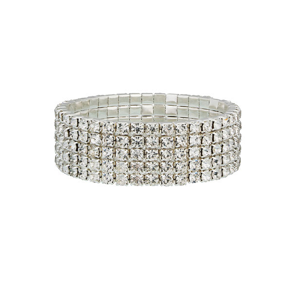 Five Row Tennis Bracelet plated with Sterling Silver & Cubic zirconia Crystals